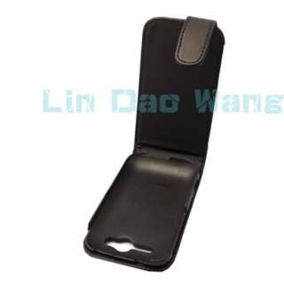 FLIP LEATHER CASE COVER POUCH + FILM FOR HTC WILDFIRE S