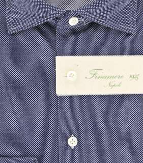 New $375 Finamore Napoli Navy Blue Shirt 15.75/40
