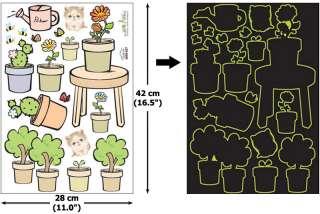 GLOW IN THE DARK Wall Art Decor Sticker FLOWERPOT #207