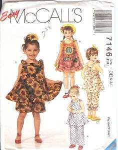 SUNFLOWER APPLIQUE SUMMER DRESS TOP SHORTS PANTS PATTERN McCALL 7146