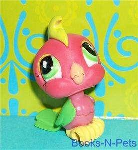 Littlest Pet Shop~#726 HOT PINK & GREEN COCKATOO BIRD Diamond Eyes