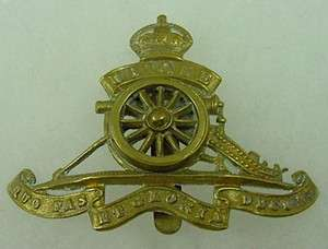 ROYAL ARTILLERY BADGE SPINNING WHEEL ORIGINAL BRITISH WW1 HAT INSIGNIA