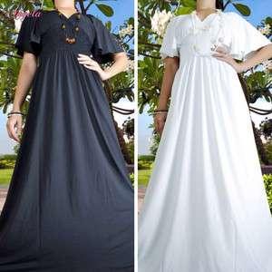 NEW Plain Black/White Evening Cocktail Long Women Dress Size M   XXXL