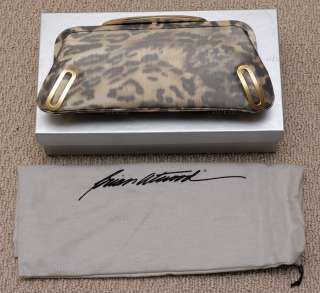 Brian Atwood Daphne Leopard Printed Clutch Italy NEW IN BOX