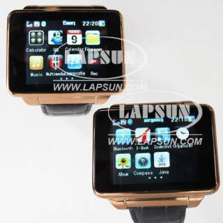 Unlocked Wrist Metal Leather Watch Mobile Cell Phone DVR Camera Quad