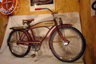 1949 JC HIGGINS COLORFLOW MENS TANK CRUISER BIKE VINTAGE BICYCLE RACK