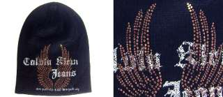 Shiny Brown Eagle Hotfix Rhinestone Knit Beanie Hat / Ski Snowboard