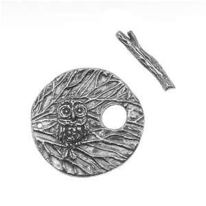Green Girl Studios Pewter Round Owl Branch Toggle Clasp