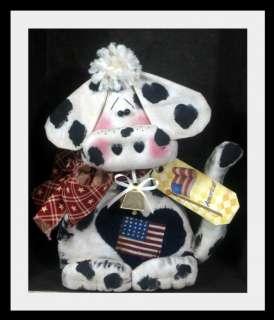 Primitive Americana~Ma Moo Cow~Shelf Sitter w/Cowbell