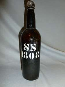 1808 Vintage Black Glass Liquor Whiskey Wine Bottle Salvaged Rare AAFA