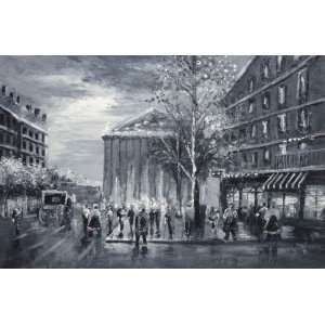 Black and White Washington DC Capitol Scene Oil Painting