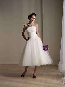 stunning short Tea Length white wedding Mini dress size custom Size