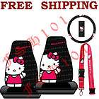 New 4pc Set Sanrio Hello Kitty Waving Seat Covers & Steering Wheel
