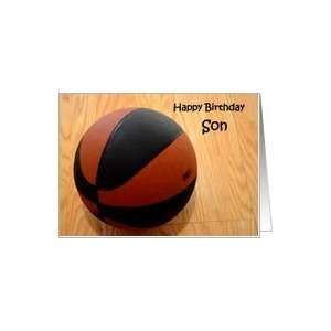 : Happy Birthday Son, basketball on wood gym floor Card: Toys & Games