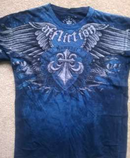 Affliction RUSH T shirt Size XL (Blue CROSS GRAPHIC) New no Tags