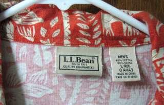 Mens Orange Tropical Hawaiian Shirt Large L.L. Bean