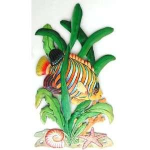 Painted Metal Regal Angelfish Tropical Fish Art Home