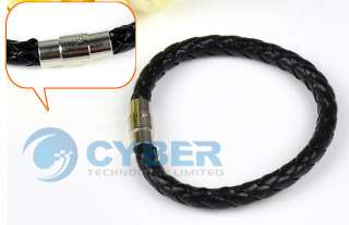 Leather and Stainless Steel Braided Bracelet Wristband