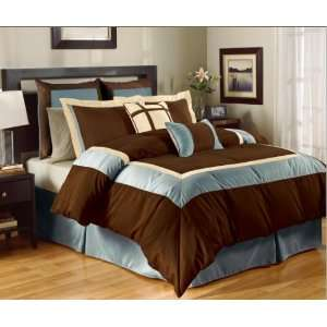 8 Pc High Quality Brown / Blue Complete Comforter Set