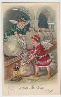 Angels Filling Bags of Money 1911 New Year Silver Accents Postcard