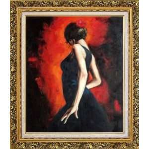 Oil Painting, with Ornate Antique Dark Gold Wood Frame 30 x 26 inches