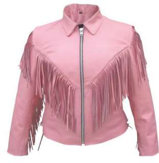 Ladies Pink Leather Motorcycle Jacket W/ Laces & Liner XS,S,M,L,XL,2XL