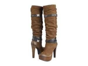 Jessica Simpson Womens Alster Army Brown Platform Knee High Fashion