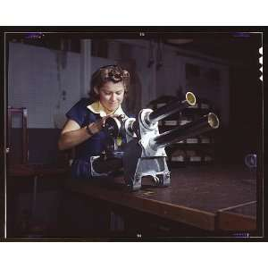 Photo A young woman employee of North American Aviation, Incorporated