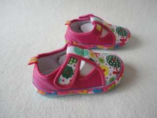 New Edgie Veggies Toddler Girls Mary Jane Shoes Pink Floral Canvas
