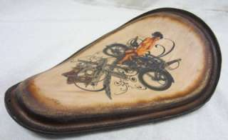 Brown Distressed Tattoo Spring Solo Seat Harley Chopper Sportster