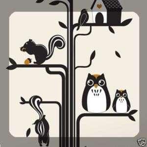 TREE & OWL WALL ART DECOR Mural Decal DIY STICKER