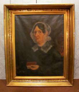 Large Antique American OIl On Canvas Painting Circa 1840