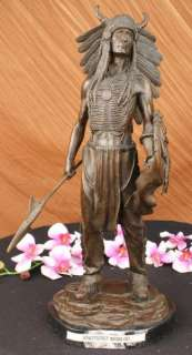Sculpture Native American Indian Warrior Figurine Statue Figure