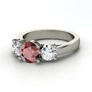 Arpeggio Ring, Round Red Garnet Platinum Ring with Diamond