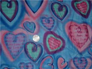 BREAST CANCER VALENTINE HEARTS 100% cotton QUILT fabric