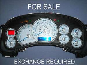 FOR SALE 99 02 REBUILT CADILLAC ESCALADE WHITE GAUGE CLUSTER WITH BLUE
