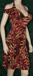 Sexy off shoulder sleeve halter dress print Large
