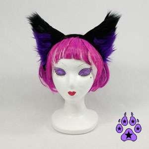 cosplay goth CANINE Anime HEADBAND Hat EARS cat Purple dark FOX
