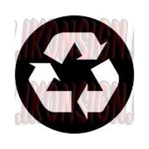 RECYCLE SYMBOL in Circle Vinyl Decal Sticker 5 BLACK by Ikon Sign