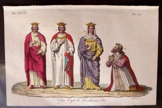 1829 ANTIQUE PRINT FRANCE KING HUGH, CAPETIAN DYNASTY