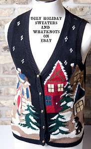 Ugly Christmas Sweater vest black with dog
