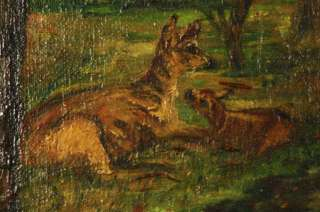 ANTIQUE OIL PAINTING OLD FOREST LANDSCAPE DEER GOLD GILT FRAME SIGNED
