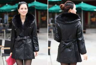 Black Real Leather Sheep Leather Removable Fox Fur Collar Belt Women