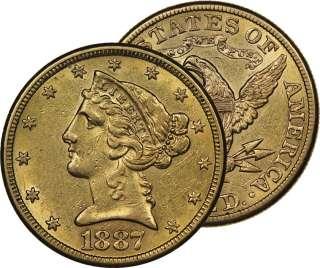 1887 S $5 HALF EAGLE LIBERTY HEAD GOLD COIN BU