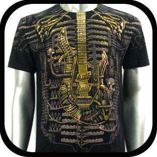 Shirt Tattoo Rock Biker AB2 Sz M L Graffiti bmx Guitar Rider