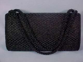 Vintage Black Satin Beaded Handbag Clutch Purse