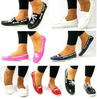 FLAT WOMANS LADIES BLACK WHITE BLUE RED PINK PATENT DECK BOATING BOAT