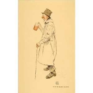1911 Print Old Man Beer Ale Hat Overcoat Study Belcher