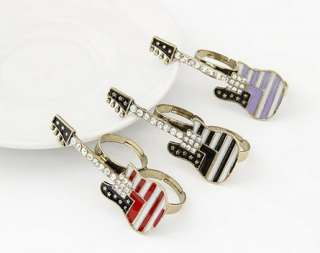 Pattern Crystal Music Guitar Adjustable Double Finger Ring NEW
