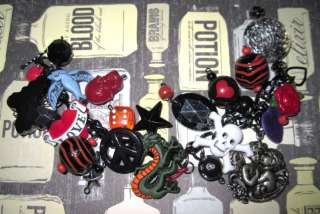 OOAK Vintage Style Tattoo Charm Bracelet Old School Rockabilly Skull